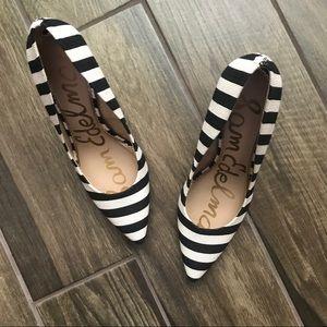 6daba4e78b9185 Sam Edelman Shoes - Sam Edelman Hazel Ivory   Black Striped Heels 9.5
